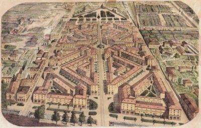 Disegno originale del progetto per l'area di Porta Vittoria (La città ideale. 1879-2004. 125 anni di cooperazione, 2004, p. 30)