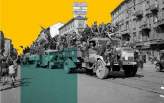 Sfilata di colonne partigiane in p.ta Venezia, 29 aprile 1945 (Archivio Publifoto Intesa San Paolo)